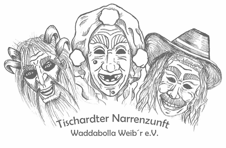 Logo, Tischardter Narrenzunft, Waddabolla-Weibr, Hag Scherer, Autmut Geist